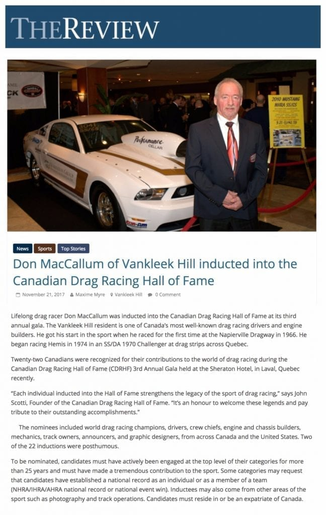 MEDIA COVERAGE – Canadian Drag Racing Hall Of Fame
